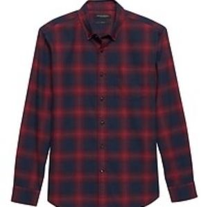 Slim-Fit Luxe Flannel Plaid Shirt